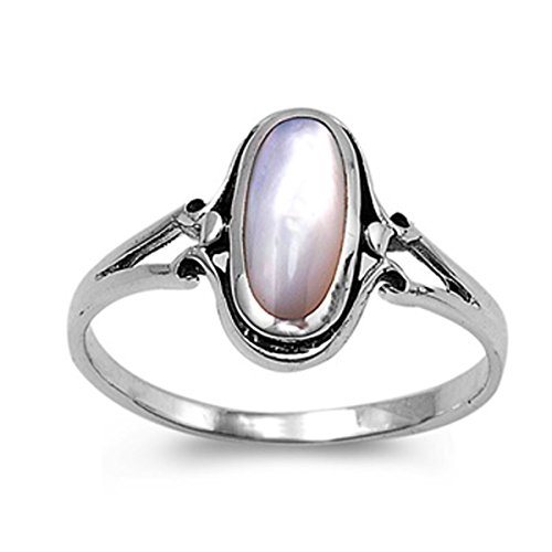 Prime Jewelry Collection Sterling Silver Women's Mother of Pearl Long Oval Ring (Sizes 5-9) (Ring Size 4) (Ring Oval Long)