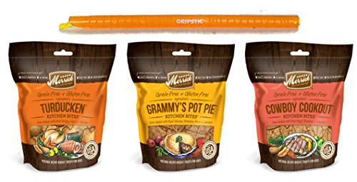 Merrick Grain Free Kitchen Bites Dog Treats 3 Flavor Variety Bundle: (1) Cowboy Cookout, (1) Granny's Pot Pie & (1) Turducken (3 Bags Total, 9 Oz Ea) + 9-Inch Gripstic Bag Sealing Rod - 4 Items Total
