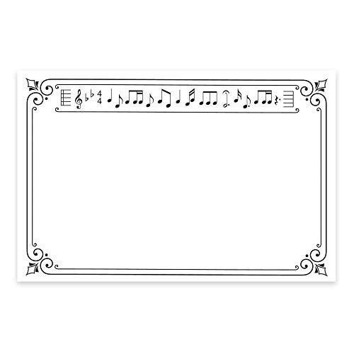 Black Foil Music Note Cards, A6, 4 x 6 inches, The Gift Collection, Set of 48 (Guitar Birthday Invitations)