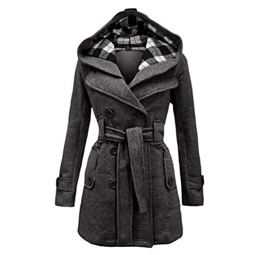 Wool Baijiaye con Thick Women Jacket Women di Cintura Long Outwear collo Coat grigia pelliccia Winter Elegant Parka srxoBthQdC