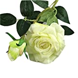 Adarl 10pcs Artificial Rose Flower Fake Silk PU Feel Moisturizing Rose Flower Bouquet for Home Office Decor Party Festival Wedding Decoration White