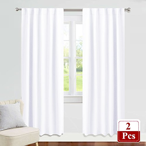 PONY DANCE White Window Curtains - Living Room Curtain Drapes Energy Saving Back Tab Window Treatments Thermal Insulated Panels for Home Decoration, 42