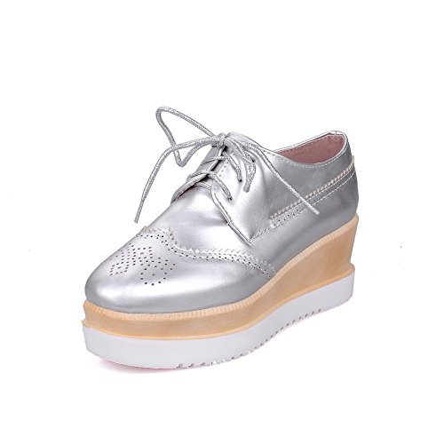 AllhqFashion Womens Square Closed Toe Kitten-Heels Soft Material Solid Lace-up Pumps-Shoes Silver dPnLZdAF