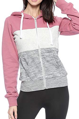 Urban Look Womens Active Long Sleeve Fleece Zip Up Hoodie (Medium, C1 Begonia Pink)