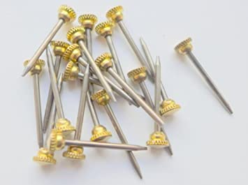 """1/"""" 25mm hardened knurled brass head picture hook pins nails decorative mirror"""