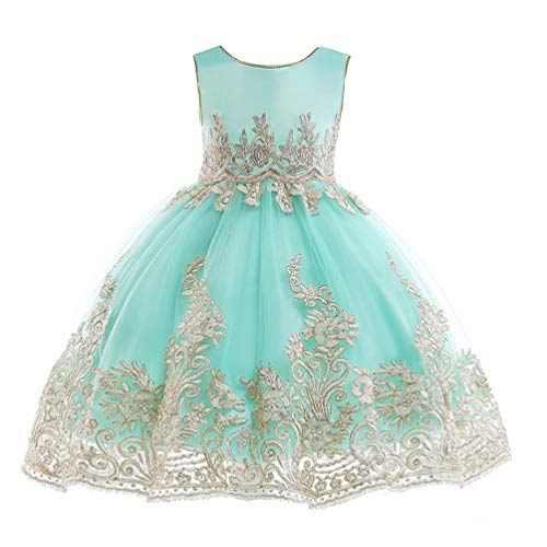 JIANLANPTT Kids Flower Girl Lace Embroidery Party Dress Children Bridesmaid Toddler Elegant Dress Vestido 7-8Years Mint Green 1 - Wedding Pageant Prom Gown