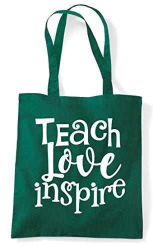 Shopper Dark Teach Bag Tote Green Inspire Statement Love wYYxqXPvT
