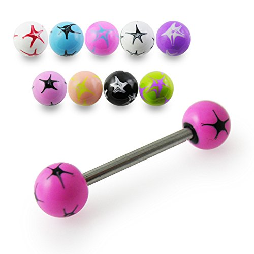 Straight Barbells 14Gx7/8 (1.6x22MM) 316L Surgical Steel with 6MM Colorful Hand Painted Starburst Ball Tongue Piercing Rings - 5 Pieces Assorted Color as Show