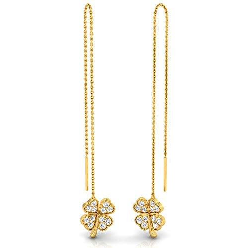 - 5/8 ctw Clover Sterling Silver Lab Grown Diamond or Lab Created Diamond Threader Earring for Women. Jewelry Gifts.