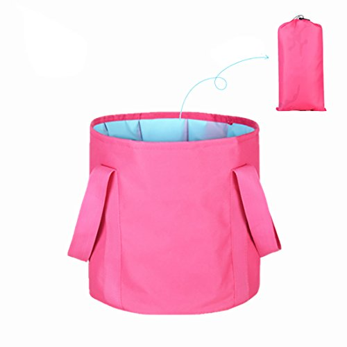 ALXDR Portable Washbasin Outdoor Water Bucket For Fishing Camping Multi-Purpose Water Container Navy Style Pail PEVA Waterproof, Larger Capacity, 25L+12L,Pinkb