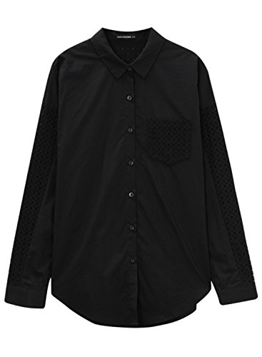 meters-bonwe-womens-solid-lace-splice-hollow-out-button-down-shirt-black-l