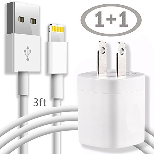 Wall iPhone Charger - 3FT Lightning Cable Charging / Data Sync Cord with AC USB Brick Travel Power Adapter Outlet Plug - White for iPhone X 8 8Plus 7 6 6S 5 SE Plus Models and More
