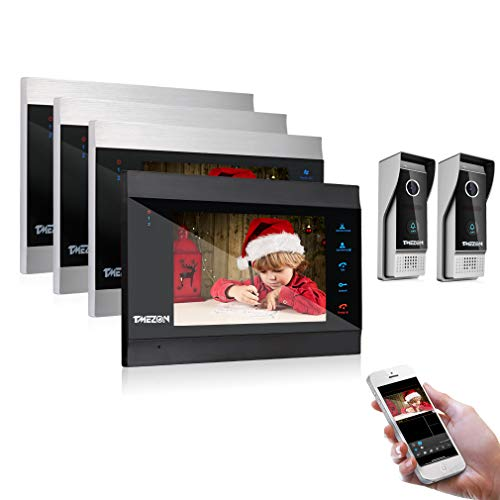 TMEZON 7 Inch Wireless/WiFi Smart IP Video Door Phone Intercom System Doorbell Entry 4 Montior with 2X 1200TVL Wired Doorbell Camera,Support Smartphone Remote Unlock, Record,Snapshot
