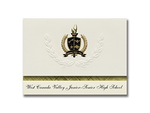Signature Announcements West Canada Valley Junior-Senior High School (Newport, NY) Graduation Announcements, Presidential Basic Pack 25 w/ Gold & Black Foil - Canada Junior
