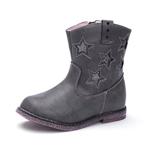 BTDREAM Toddler Girl's Zipper Winter Snow Ankle Boots Waterproof Outdoor Walking Flat Shoes Gray Size 26