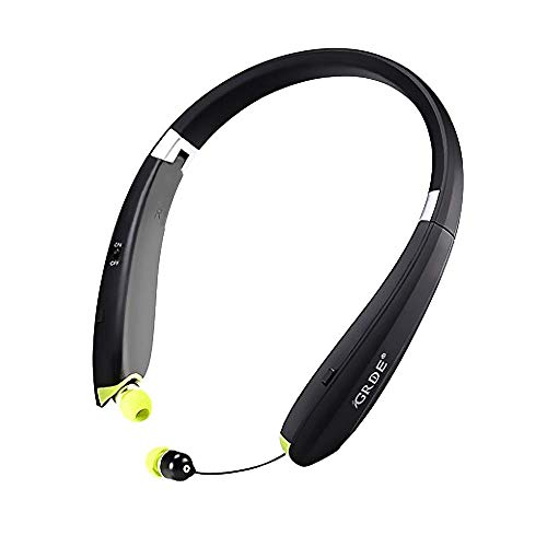 LBell Upgrade Bluetooth Headset, Foldable Bluetooth Headphones with Retractable Earbuds Wireless Bluetooth Earpieces with Mic for 8 7 SE 6 6 Plus 5 5S and Android Smart Phones (Black + Green)