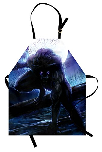 Ambesonne Fantasy World Apron, Surreal Werewolf with Electric