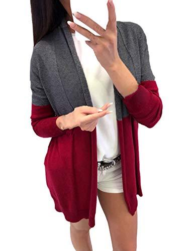 Outwear Fashion Manteau Casual Pulls Gilets Longues Simple Mode Veste Femmes Cardigan Chandail Tops Patchwork Jeune Hauts Automne Manches Printemps Slim Coat P1nB16d