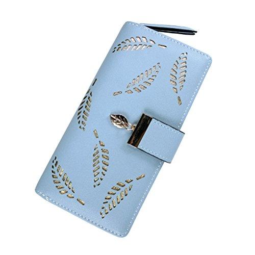 Blue Wallet Womens (G-zebra Women's Wallets Long Leather Zipper Buckle Card Holder Purse Clutch Wallets for Girls Blue)