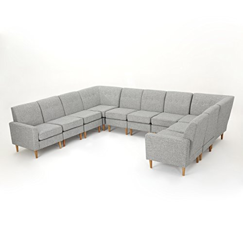Fine Christopher Knight Home 302733 Sawyer Sectional Sofa Light Grey Tweed Natural Download Free Architecture Designs Scobabritishbridgeorg