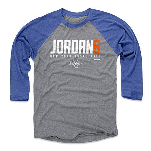 (500 LEVEL Deandre Jordan Baseball Tee Shirt (Medium, Royal/Heather Gray) - New York Basketball Raglan Tee - Deandre Jordan Elite O WHT)