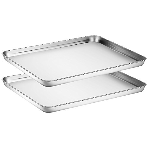 Baking Sheets Set of 2, HKJ Chef Cookie Sheets 2 Pieces & Stainless Steel Baking Pans & Toaster Oven Tray Pans, Rectangle Size 16Lx12Wx1H inch & Non Toxic & Healthy & Easy Clean