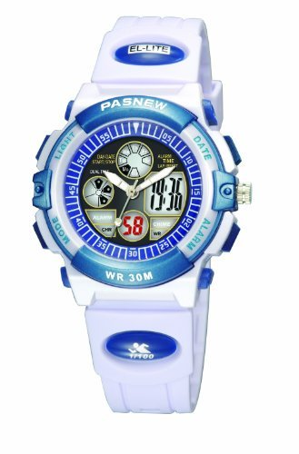 30m Water-proof Digital-analog Boys Girls Sport Digital Watch with Alarm Stopwatch Chronograph (Child) 6 Colors (White) by PASNEW