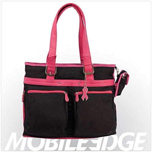 Mobile Edge Eco-Friendly Women's Laptop Tote, Black with Pink Trim Fits 16 Inch PC / 17 Inch Mac MECTEK1 ()