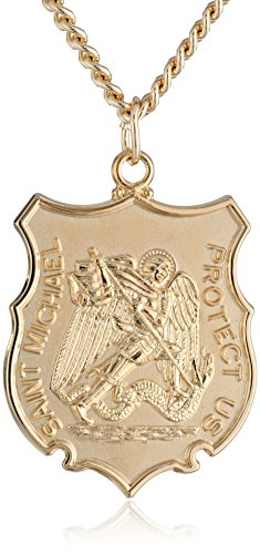 - Men's 14k Gold-Filled Men's Saint Michael Medal with Gold-Plated Stainless Steel Chain, 24