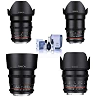 Rokinon Cine DS Lens Kit for Sony E-Mount Consists of 24mm T1.5 Lens, 35mm T1.5 Lens, 50mm T1.5 Lens, 85mm T1.5 Lens, Cleaning Kit
