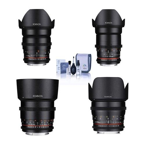 Rokinon Cine DS Lens Kit for Canon EF Mount Consists of 24mm T1.5 Lens, 35mm T1.5 Lens, 50mm T1.5 Lens, 85mm T1.5 Lens, Cleaning Kit (Rokinon 35mm T1 5 Cine Ds Lens)