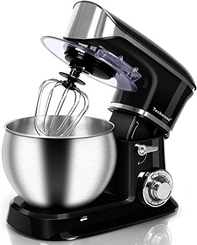 Stand Mixer, Techwood Electric Food Mixer, 6QT 800W 6-Speed Tilt-Head Kitchen Dough Mixer with Stainless Steel Bowl…