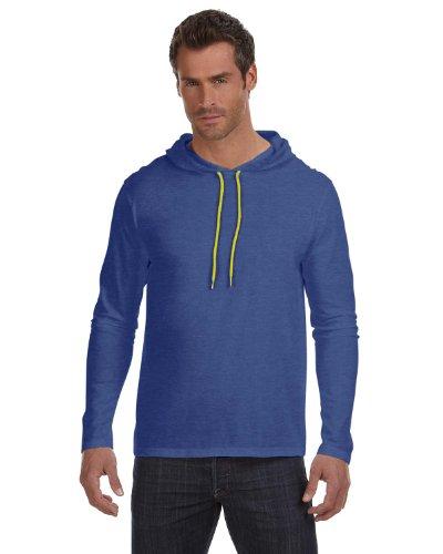 Anvil Lightweight Long-Sleeve Hooded T-Shirt, 2XL, HTH DK GY/DK GY