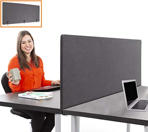 Stand Steady ClipPanels Desk Mounted Privacy Panels | Height Adjustable Desk Divider| Easy Clamp on Privacy Screen or Modesty Panel - Reduces Up to 85% of Noise | (Gray / - Desk Screen