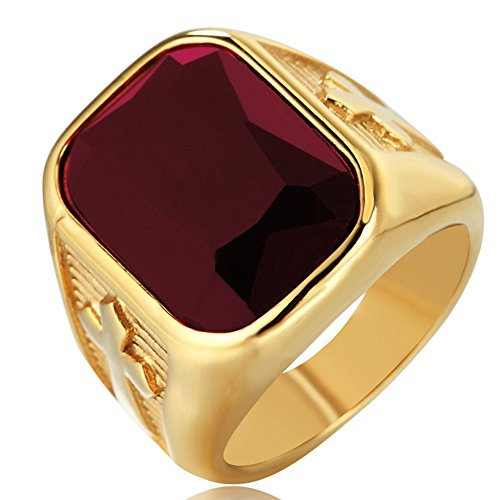 SAINTHERO Men's Vintage Stainless Steel Wedding Band Rings Double Cross Created Princess Ruby Hip-hop Jewelry Ring Red Size 12
