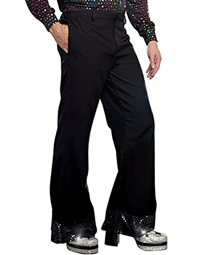 ACSUSS Men's Sequin Cuff Bell Bottom Disco Pants Flared Trousers Dude Costume Black X-Large -