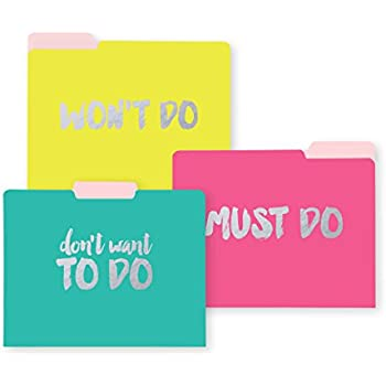 C.R. Gibson 9-Count File Folders, 3 of Each Design, 10 Adhesive Labels, Measures 11.5 x 9.5 - Neon