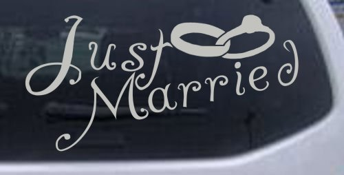 (3in X 6in Silver -- Just Married Car Window Wall Laptop Decal Sticker)
