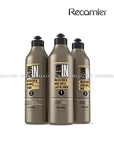 Recamier SalonIn Braziliss Kerat-in Amino Kit Complex Frizzed Damaged & Dry Hair Para Cabello Frizzado Dañado y Seco: Clarifying Shampoo, Treatment, Mask 33.8oz(1000ml) x3