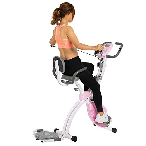 Murtisol Folding Stationary Bike Foldable Exercise Bike Indoor Cycling W/Twister Plate, Arm Resistance Bands, Extra Large&Adjustable Seat and Heart Monitor for Home Cardio Workout, Pink (Best Stationary Bike For Seniors)