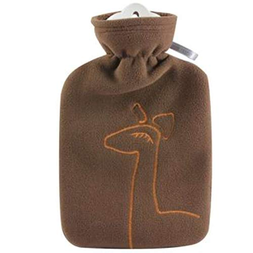 Hot Water Bottle with Cover - Hot Cold Pack Made of Burst Resistant Thermoplastic with Fleece Sleeve Helps Relieve Muscle Aches & Pains, Menstrual Cramps, Flu Symptoms (1.8 L Brown Deer Application)