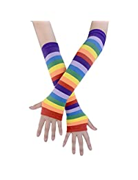 JISEN Punk Rainbow Knitted Stretchy Soft Arm Warmer Long Fingerless Gloves