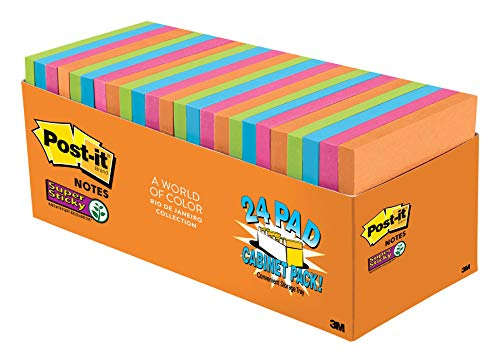 Art Supply Store Miami (Post-it Super Sticky Notes, Rio de Janeiro Colors, Large Pack, Recyclable, 3 in. x 3 in, 24 Pads/Pack, 70 Sheets/Pad)