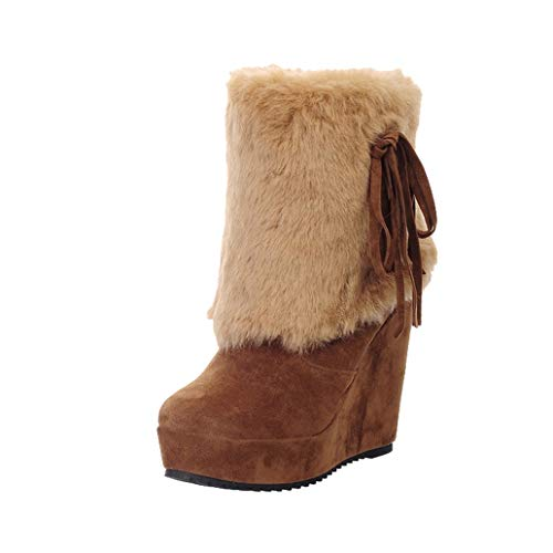 York Zhu Womens Boots,Winter Fashion Wedge High Heel Downy Flat Boots (Womens Jackie Button Boot)