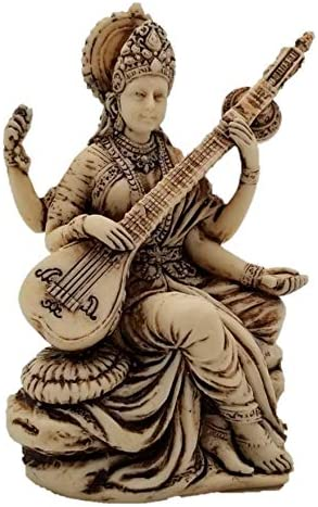 Mini Idol Arts and Wisdom Sculpture in Antique Ivory Finish Hindu Goddess of Knowledge RK Collections 3 Small Saraswati Statue Music