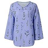 Sunyastor Women's Plus Size Linen Vintage T-Shirt