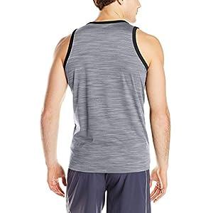 adidas Men's Heathered Tank Top, Grey/Black, Large