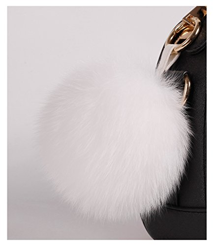 S.ROMZA real Fox Fur Pom Pom Keychain Womens Bag Charms soft and Fluffy Fur Ball Keychain (5.1inch, White(Fox fur)) by S.ROMZA