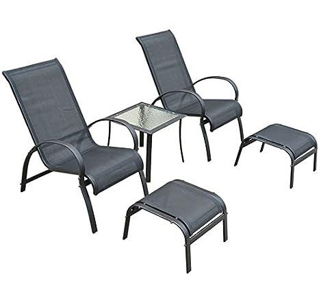 Homcom Salon de Jardin textilene Bain de Soleil Chaise Longue x 2 +  Tabouret x 2 + Table Basse en alu Noir