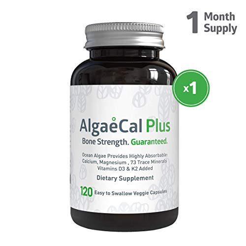 - AlgaeCal Plus - Natural Calcium, Magnesium, Vitamin K2 + D3 Supplement - Increase Bone Strength - All Natural Ingredients - Plant-Based - Dietary Supplement - 120 Veggie Capsules - 1 Bottle